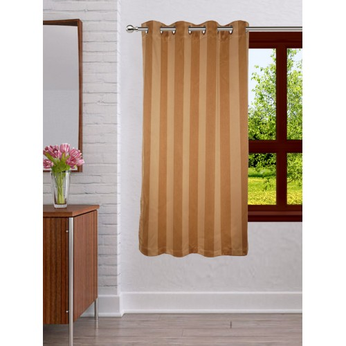 Lushomes Stripes Adorable Gold Window Curtain