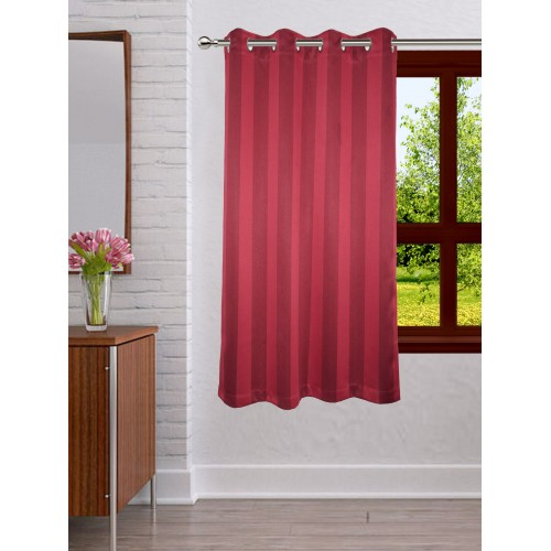 Lushomes Stripes Adorable Maroon Curtain