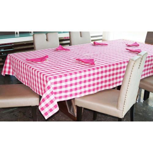 Lushomes Yarn Dyed Lilac Checks 6 seater Table cloth & Napkins Set (7 pcs)
