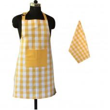 (1 Apron and 1 Kitchen Towel) Lushomes Yarn dyed yellow checks Aprons Set