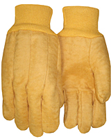 Laminated Golden Brown Chore Knit Wrist Gloves