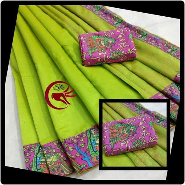 fc44389b5b4e87 Chanderi silk patchwork Kalamkari printed border sarees Manufacturer ...