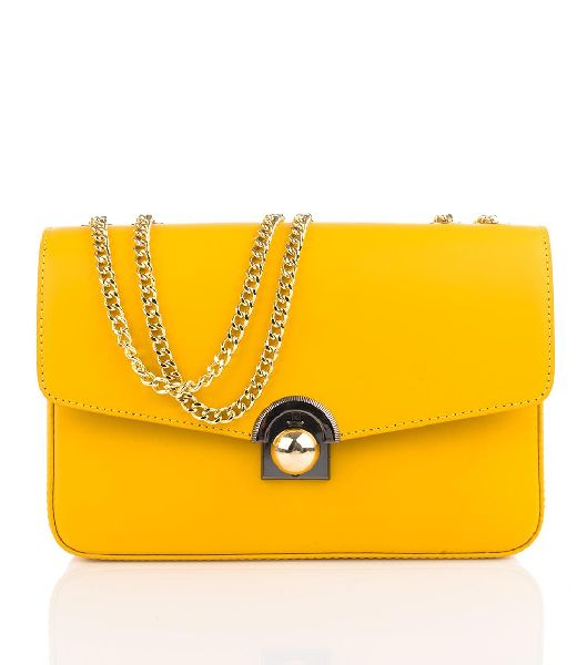 Bovory Yellow Leather Handbags (20180)