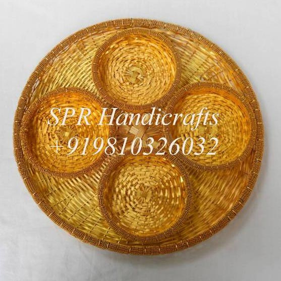 Round Cane Tray with 4 Bowls