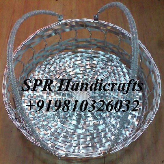Round Cane Basket with Handle