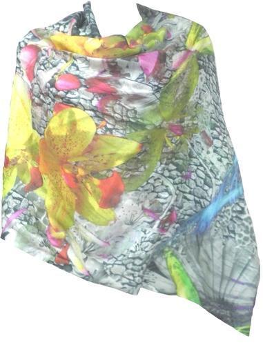 Ladies Printed Cashmere Silk Shawls (PI-VOS-10282)