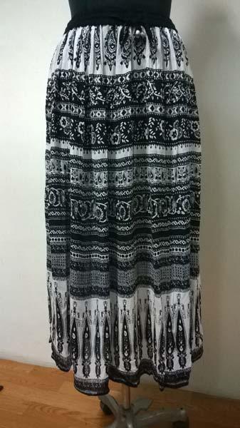 Rayon 2 Panel Black N White Printed Ladies Skirt (7154)