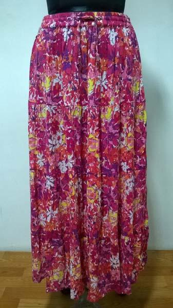 Rayon Crepe Printed 4 Tier Ladies Skirt (7108 4 TIER SKIRT)