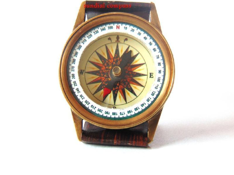 Brass Wrist Watch Compass Antique Finish With Leather Case