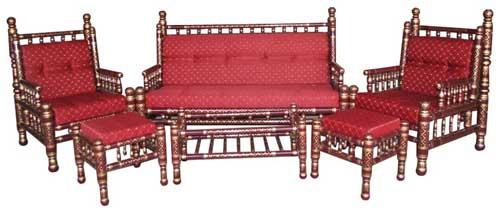 Marron Gold Wooden Sofa Set S