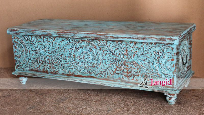 Indian Wooden Hand Carved Box By Jangid, Hand Carved Wood Furniture India
