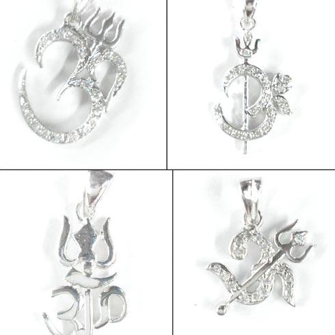 925 silver om trishul pendant