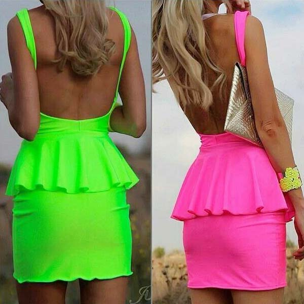 Ladies One Piece Neon Dresses