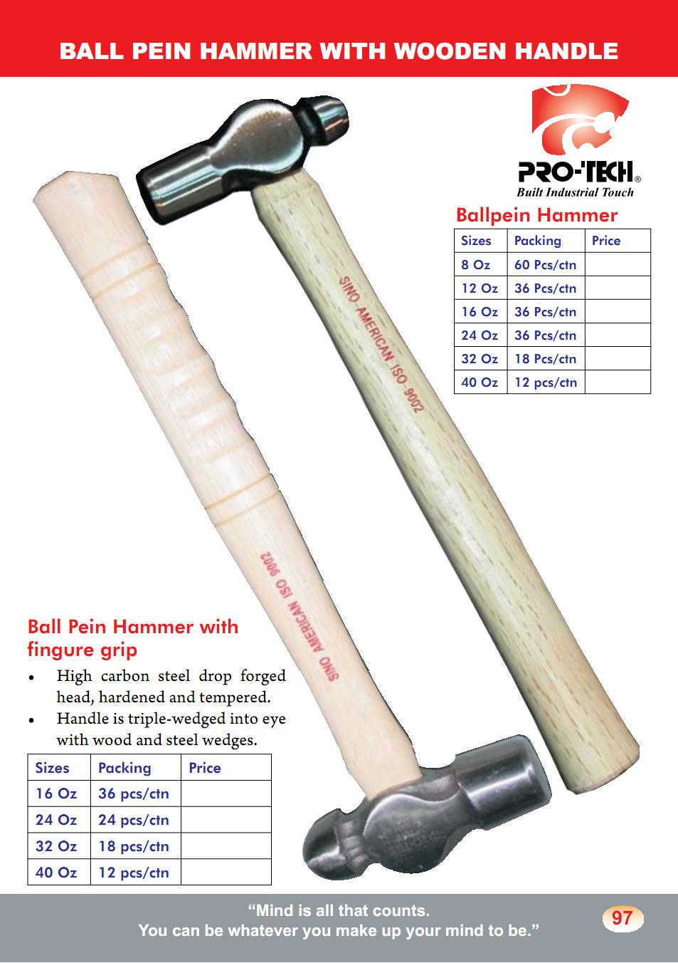 Ball Pein Hammer with Wooden Handle (HMR1)