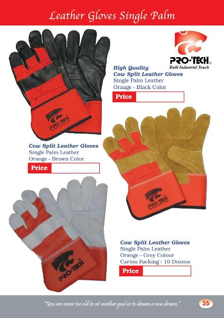 ProTech Brand Leather Gloves SIngle Palm (LG2)