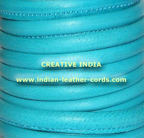 Coloured Round Leather Plain Stitched Naapa Leather Cords   252 TURQUOISE (252 TURQUOISE)