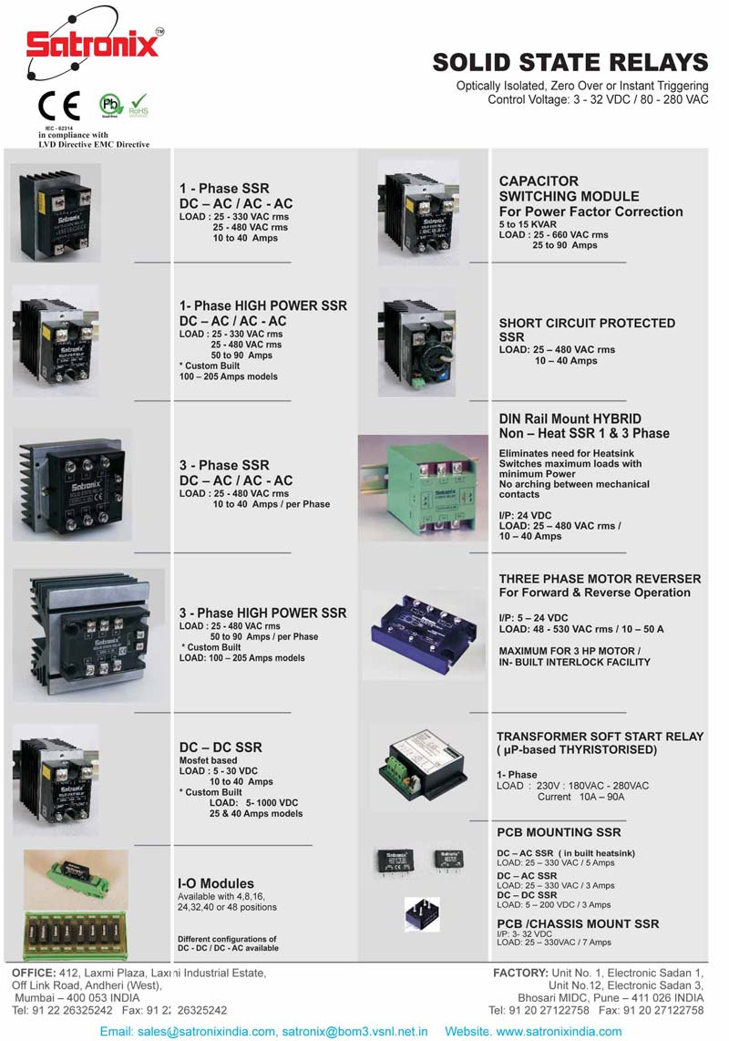 Solid State Relays Manufacturer in Maharashtra India by Satronix