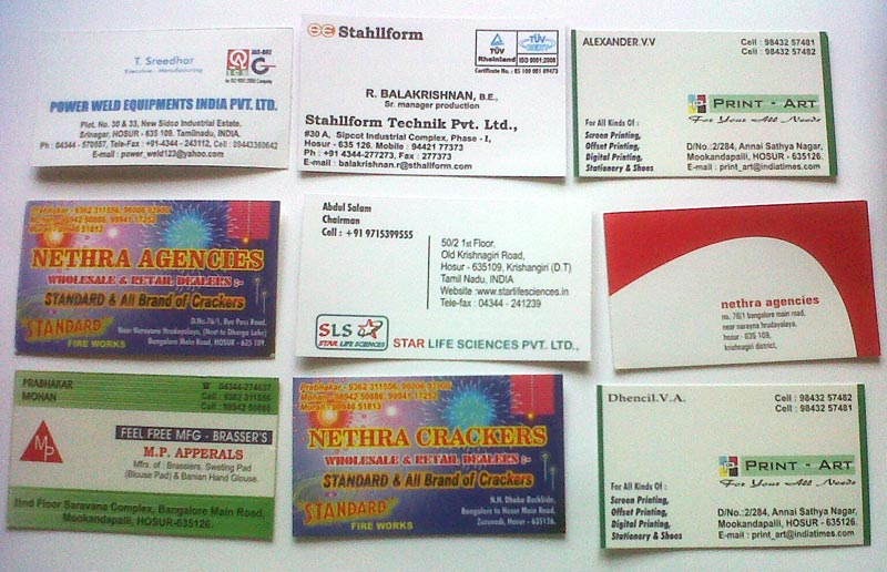 services visiting card printing in offered by print art india id