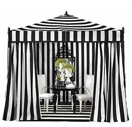 Black White Stripe Cabana Tent
