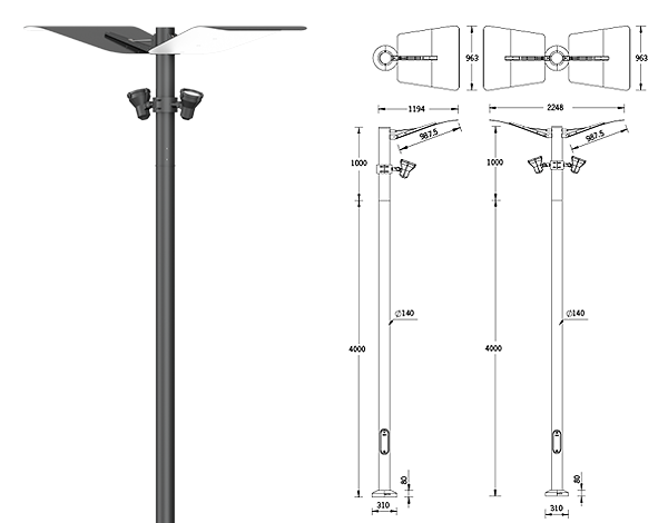 Mic 3 indirect Post top luminaires
