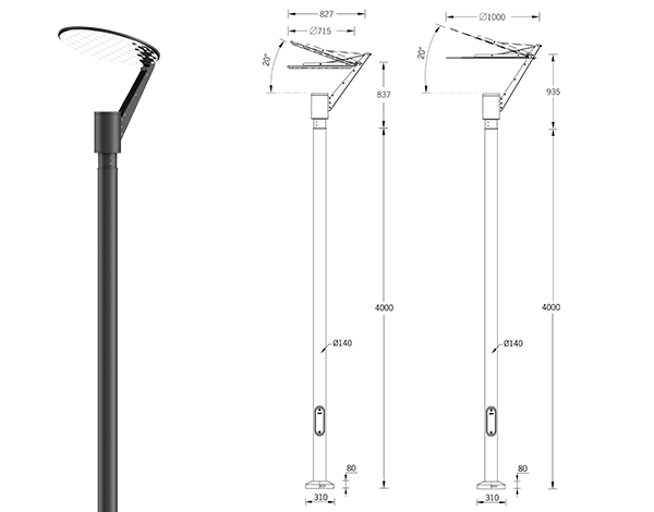Syndy Large indirect light post top luminaires