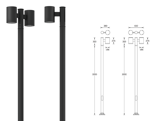 Tango Cylindrical Post top luminaires