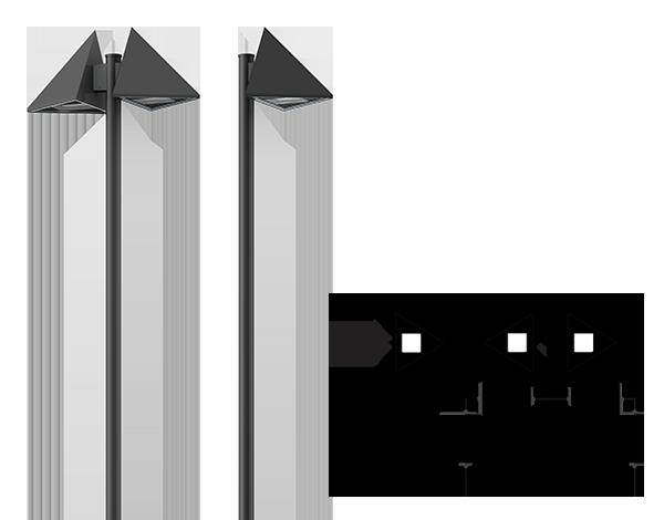 Triangle Street pole mount area light