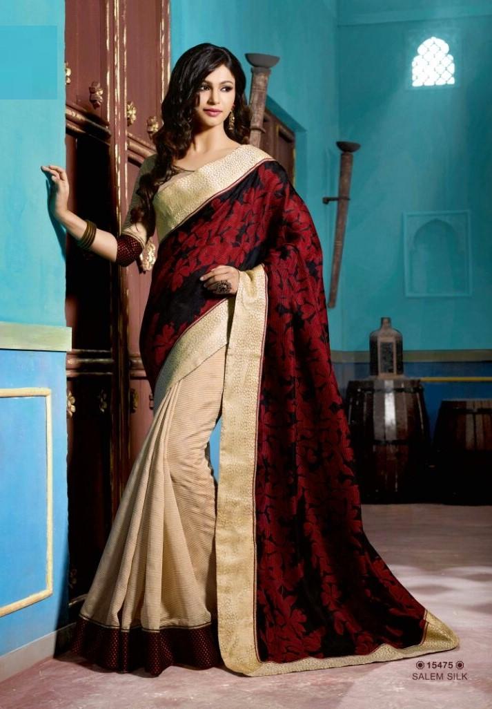 Designer Black And Red Art Silk Party Wear Saree With Velvet Border By Saree Mandi Id 2130800