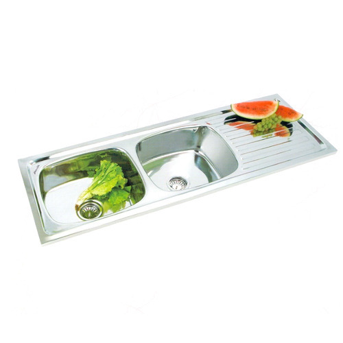 Stainless Steel Double Bowl Drainboard Sink