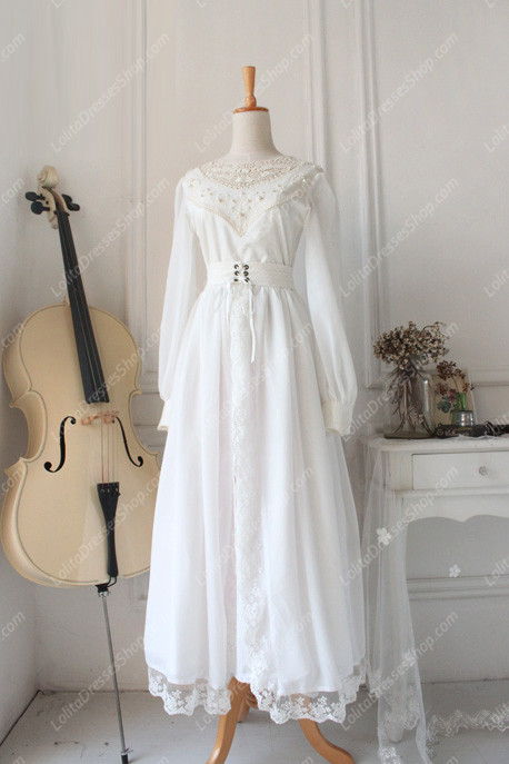 White Lace Cardigan Front Gothic Lolita Long Dress