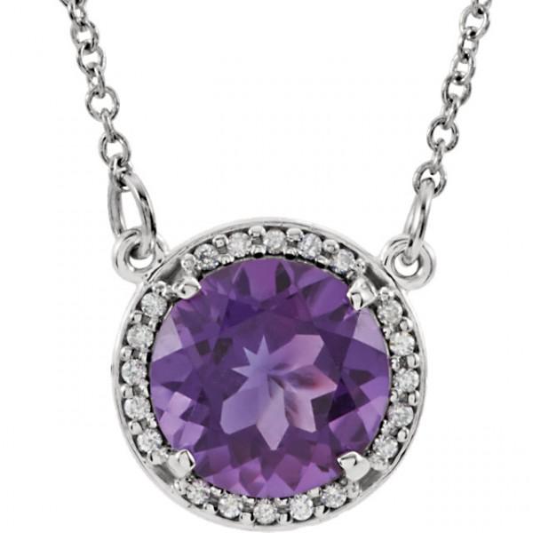 Gold Gemstone & Diamond Halo Style Pendant