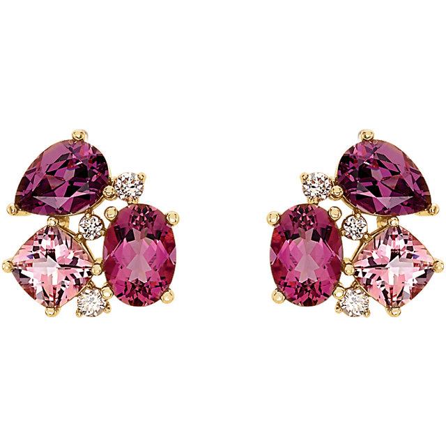 Gold Multi-Gemstone Diamond Earrings