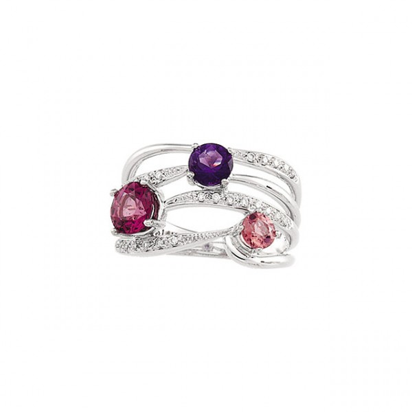 White Gold Genuine Multicolor Gemstone & Diamond Ring