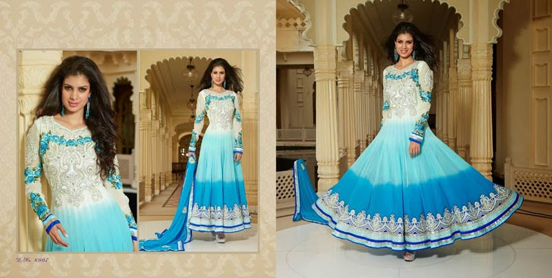 Anarkali dress white and blue