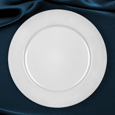 Pearlized White Plastic Charger Plates