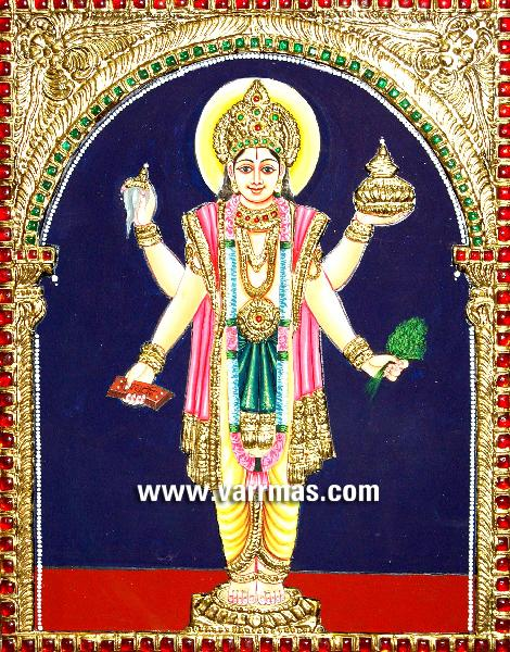 Buy Dhanvantari Tanjore Paintings from Varrmas Arts, Coimbatore