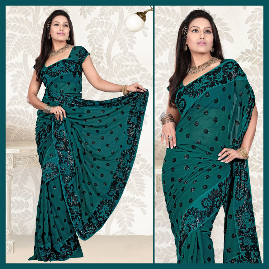 f7a2810a9aaaf7 Deep Teal Blue Faux Georgette Saree with Unstitched Blouse (132) (132)