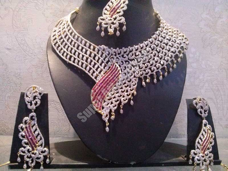 c2e2b4ec5 Buy American Diamond Bridal Necklace Set from Super Art Jwellery ...