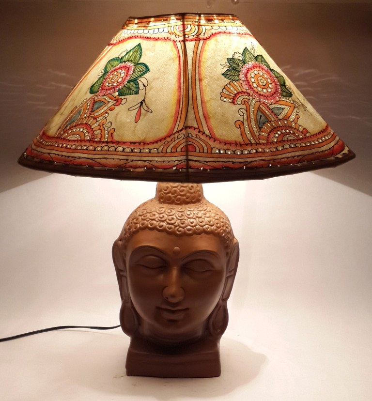Hand Painted Lamp Shades: Terracotta Lamp With Hand Painted Leather Shade