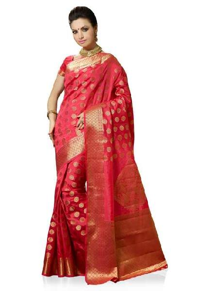 481048352b Bright Red Colour Art Silk Woven Saree Manufacturer in West Bengal ...