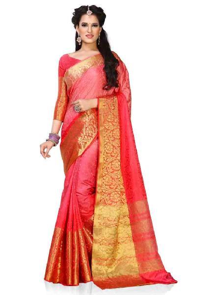 3e57a97fea7745 Peach Colour Woven Art Silk Saree Manufacturer in West Bengal India ...