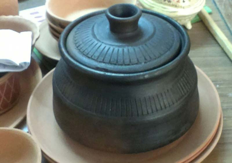 buy black terracotta handi from murli exporters  india