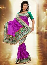 Purple Net, Jacquard Partywear Indian Embroidered Saree