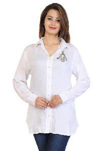 Rayon Crepe Beads Work White Formal Shirt