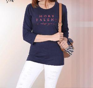 Ladies Plain 3/4 Sleeve T Shirts