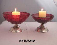 Metal Base Glass T-light Holders