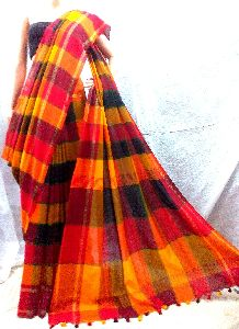 Handloom Pure Khadi Multi Box Design Saree