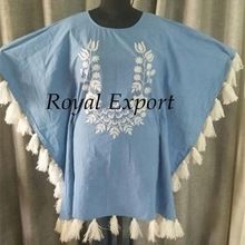 Beachwear Embroidery Kaftan Women Short Dresses
