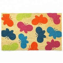 Multicolor Butterfly Print 100% Coir Flooring Doormat