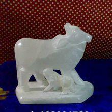 Small Alabaster Cow Calf Concrete Statues